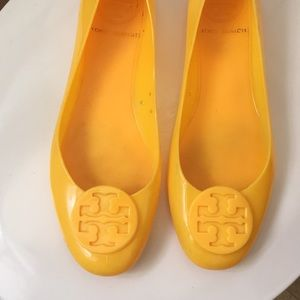 Tory Burch Shoes - Tory Burch yellow jelly Reba flats